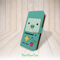 Beemo Adventure Time flip pu leather cover case for iPhone 6 6 plus 5 5S 5C 4 4S leather case, moto X, galaxy S3 S5 S4 Note 3 (R24)