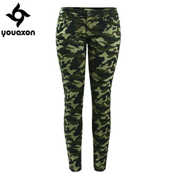Youaxon Women`s Chic Camo Army Green Skinny Jeans For Women Femme Camouflage Jeans Plus Sizes Too