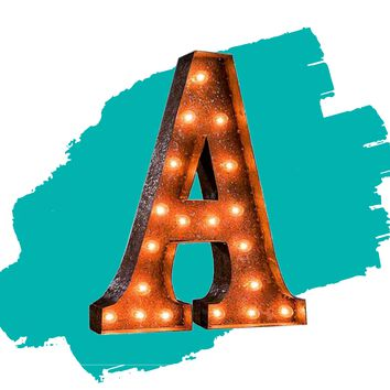 """24"""" Letter A Lighted Vintage Marquee Letters (Rustic)"""