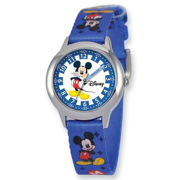 Disney's Mickey Mouse Printed Fabric Band Time Teacher Watch