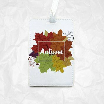 Autumn Leaves Personalised Leather Luggage Tag Best Travel Tag Beautiful Bag Tag with FREE name monogram companion Passport cover available