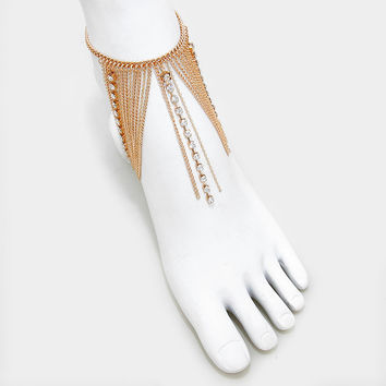Crystal Fringe Barefoot Sandals, Delicate Boho Coin Foot Chain - Gold