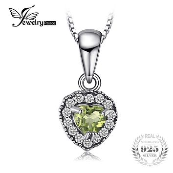 JewelryPalace Heart 0.35 ct Natural Peridot 925 Sterling Silver Best Friends Pendant For Lovers Fine Jewelry Not Include A Chain