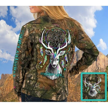 Country Life Preppy Feather Deer Dream Real Tree Camo Long Sleeve T-Shirt