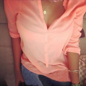 Button Fashion Solid Color Long-Sleeved Shirt Blouse Tops