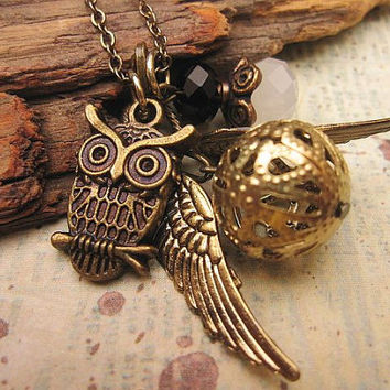 Ornate Golden Snitch Necklace with Owl Charm and crystals