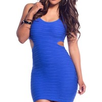 Cobalt Blue Pleated Waist Cut-Out Dress