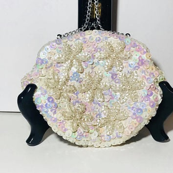 Vtg 60s Holographic Shimmery Evening Hand Bag / Iridescent White Sequin and Faux Pearl Bridal Purse / Formal Hand Beaded Floral / Hong Kong
