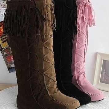 Ladies Trendy Faux Suede Slouchy Boho Fringe Mid Calf Boots Shoes Plus Size