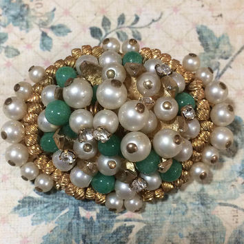 Green Peking Glass Bead Pin, Faux Pearl and Crystal Rhinestone Brooch, Gold tone Setting,  Mid Century Jewelry, Costume Jewellery  217