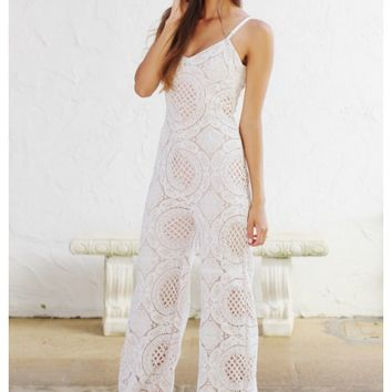 White lace spaghetti strap jumpsuit with full nude liner | Brooke | escloset.com