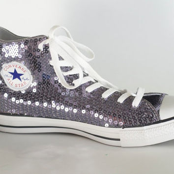 Platinum Grey Sequin Converse All Star Hi Top 6b1f3038b