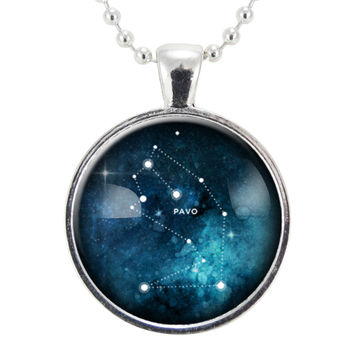 Pavo Star Constellation Necklace, Science Geek Jewelry, Homemade Astrology Pendant Necklace