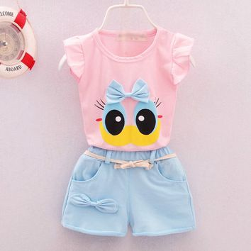 2pcs Newborn Infant Toddler Kids 0-1-2-3-4 year old girl summer suit vest female baby baby wear summer clothes