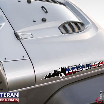 2x Jeep American Flag Offroad Mountain edition hood Decal fits all Jeep Wrangler