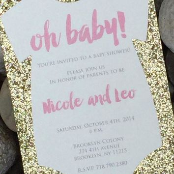 Glitter Onesuit Baby Shower Invitations, Oh Baby Shower Invite NICOLE