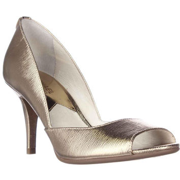MICHAEL Michael Kors Nathalie Open Toe Dress Pumps - Pale Gold