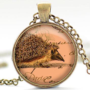 Orange Hedgehog Necklace, Nectarine Hedgie Art Pendant, Parisian Porcupine Charm, Hedgehog Jewelry (221)