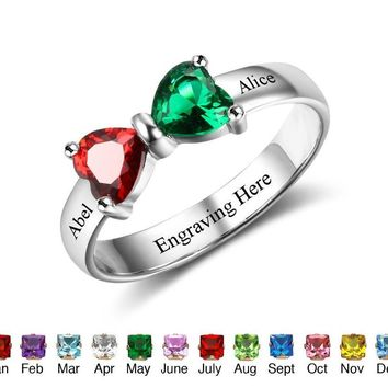 Promise Rings Personalized Jewelry Engrave Name Custom Birthstone 925 Sterling Silver Rings For Girlfriend