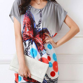 Casual Fabulous Loose Round Neck Butterfly Printed Blouse