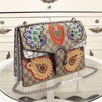 AUGUAU NEW GRAY GG replica women handbag with embroidered  patches and silver snake buckle