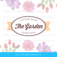 OOAK Premade Logo Design - Oval Label - Perfect for a vintage finds shop or a floral art boutique
