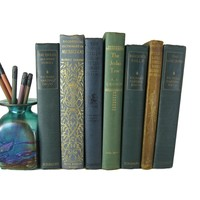 Blue Green Decorative Books by Color for Bookshelf Decor, S/7