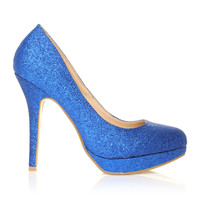 EVE Blue Glitter Stiletto High Heel Platform Court Shoes