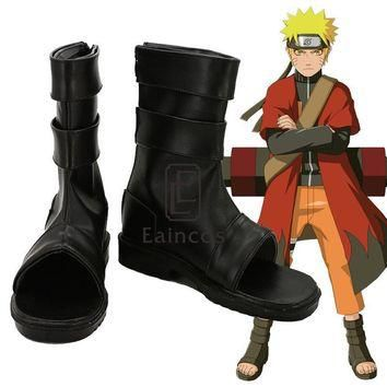 Anime Naruto Uzumaki Naruto Cosplay Shoes Black Peep Toe Boots Custom-made