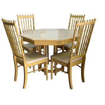 Pre-owned Vintage Faux Bamboo Table and Chairs