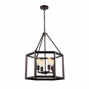 "Ironclad, Industrial-Style 4 Light Rubbed Bronze Ceiling Pendant 21"" Wide"