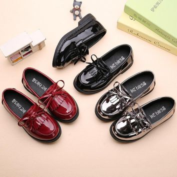 AFDSWG spring and autumn kids princess shoes black low heel silver shoes for girls, school shoes black, moccasins for kids