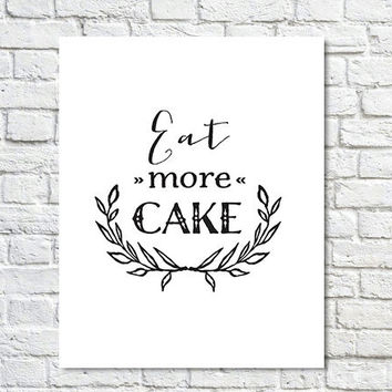 BUY 2 GET 1 FREE Type Poster, Type Quote, Shabby Chic Decor, Wall Decor, Black White Decor, Inspirational Quote, Motivational Poster - Eat M