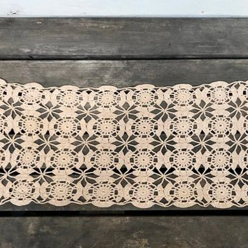 Vintage Doily Table Runner, Light Tan Crocheted Doily Runner, Medallion Pattern, circa 1950s-1960s