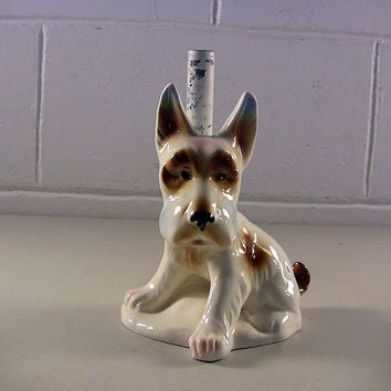 Vintage Dog Lamp Base Scottish Terrier Figurine Germany
