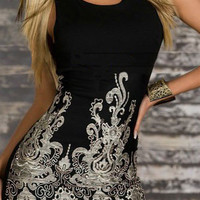 Black Sleeveless Embroidered Mini Dress