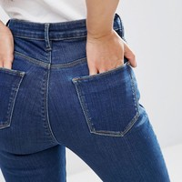 ASOS PETITE Ridley High Waist Skinny Jeans in Kioshi Flat Blue Wash