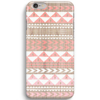 Coral Aztec on Wood Pattern  iPhone 6 Case, iPhone 5S Case