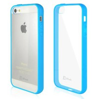 JETech iPhone SE Case, Luxury 5 5S SE Case Bumper Cover for Apple 5/5S/SE with Shock-absorption Bumper and Anti-scratch  -  Clear Back - Blue