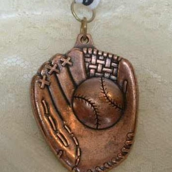 Large Softball Baseball Catchers Glove Copper Necklace Pendant