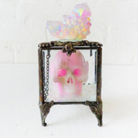 Death Over the Rainbow Beveled Glass Jewelry Box with Pink Crystal Carved Skull and Magical Aurora Crown Cluster