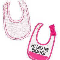 Kate Spade Layette Two-Pack Eat Cake For Breakfast Bib Set Cream /