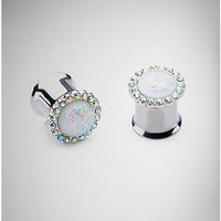 White Opal-Effect Gem Double Flare Plugs - Spencer's