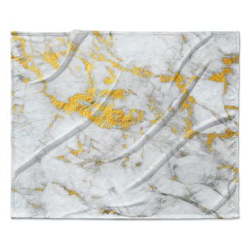 "KESS Original ""Gold Flake"" Marble Metal Fleece Throw Blanket"
