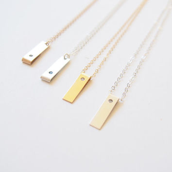 Vertical Bar Necklace, Raw Diamond Necklace, Personalized Tag Necklace, Layering Necklace, Initial Tag Necklace, Dainty Minimalist Necklace