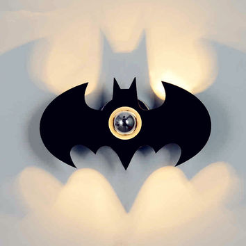 Hot E27 Led Wall Sconce Night Light Gift Wall Lamp For Bedroom Acryl Fashion Black Batman Shadow Led Wall Lamp