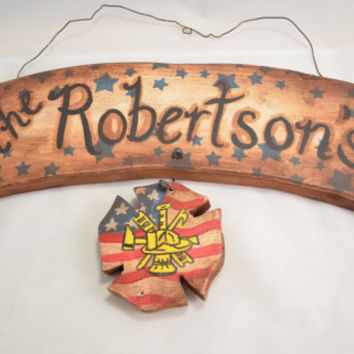 Personalized Wood banner with fire fighter symbol Americana red white and blue distressed wood handmade custom made to order home decor
