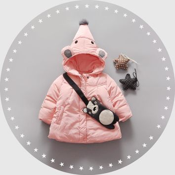 Warm Winter Baby Girls Parkas Cute Cartoons Hooded Plus Cotton Thicken Jackets Coat Outerwear Snow Wear Casaco+Lovely bags
