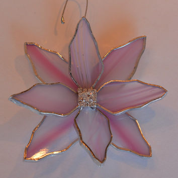 Stained Glass Pink Clematis or Poinsettia Flower in 3d  Garden Decor Window or Patio Decoration with Rhinestone Centre