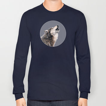 Grey wolf Long Sleeve T-shirt by Savousepate